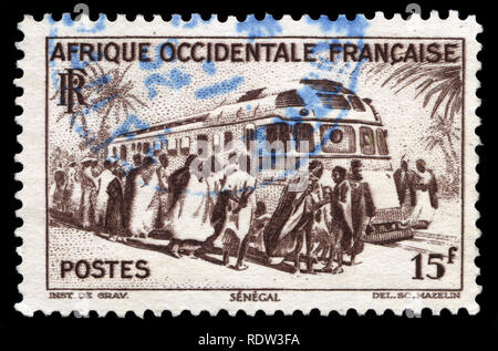 Postage stamp from French West Africa in the West Africa series issued in 1947 - Stock Photo