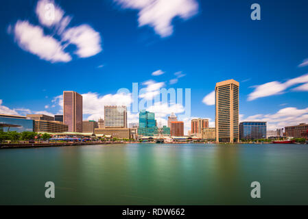 Baltimore, Maryland, USA Skyline on the Inner Harbor in the day. - Stock Photo