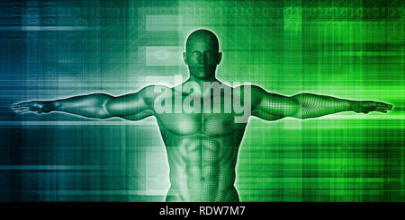 Medical Background with Vetruvian Man Concept Art - Stock Photo