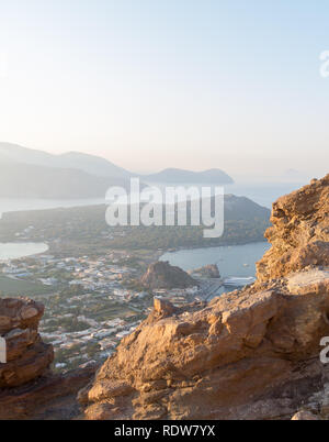 aerial view of tosn on Vulcano Island, Italy - Stock Photo