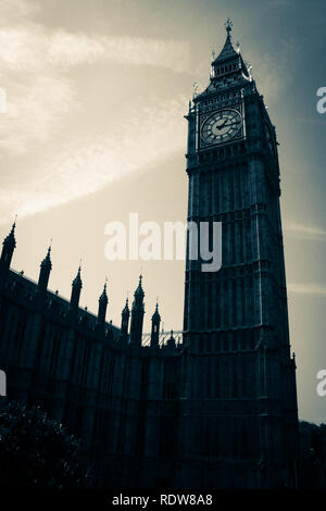 Old-fashion photography of the Elizabeth Tower, commonly known as Big Ben, at the Palace of Westminster in London, United Kingdom - Stock Photo