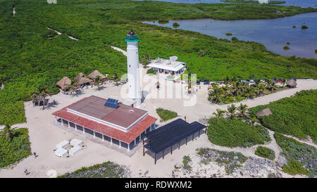 Beautiful old school Light house drone shots different views Mexico Island Cozumel