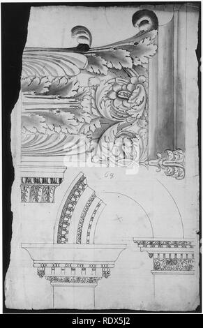 Arch of Septimius Severus, pilaster capital, elevation; impost and arch elevation; detail (recto) blank (verso) - Stock Photo