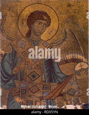 Archangel Michael - Gelati Monastery Byzantine Mosaic (circa 1125-1130). - Stock Photo