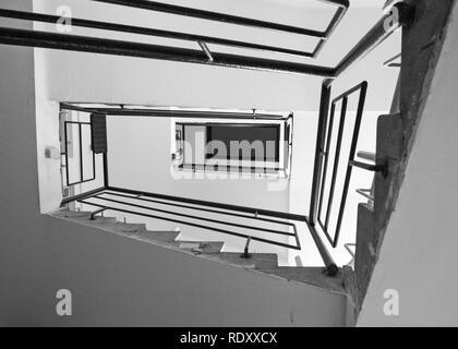 TEL AVIV, ISRAEL - December 28 2018: Staircase in an old Bauhaus Residential building.Tel Aviv has the large number of buildings in the Bauhaus/Intern - Stock Photo