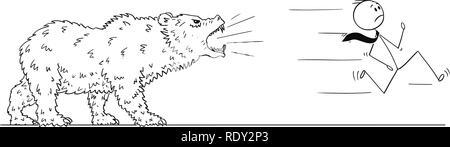 Cartoon of Businessman Running From Bear - Stock Photo