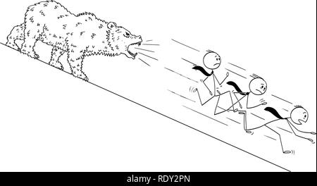 Cartoon of Businessmen Running Down the Hill From Bear - Stock Photo