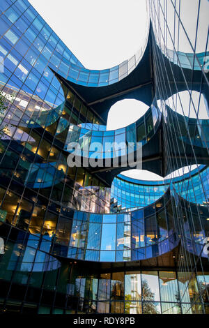 Office block glass reflections. More London Riverside. England - Stock Photo