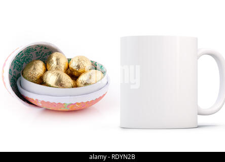 cardboard open egg with mini chocolate eggs inside next to a blank white mug. Perfect for businesses selling mugs, just overlay your quote or design o - Stock Photo