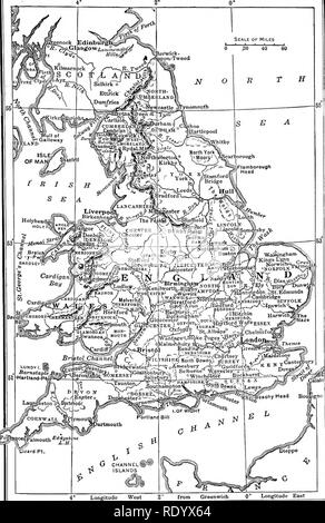 . Types and breeds of farm animals. Livestock. Longi tilde East Fig. 6. A county map of England, on which will be found points of interest connected with the ancestry and development of many breeds Digitized by Microsoft®. Please note that these images are extracted from scanned page images that may have been digitally enhanced for readability - coloration and appearance of these illustrations may not perfectly resemble the original work.. Plumb, Charles S. (Charles Sumner), 1860-1939. Boston, New York, Ginn - Stock Photo