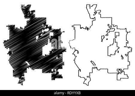 Modern City Map - Colorado Springs CO city of the USA Stock Vector ...