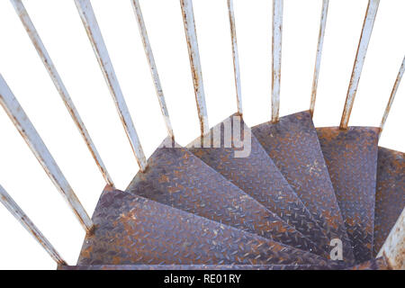 Rusty iron old dirty stairs going down isolated on white - Stock Photo