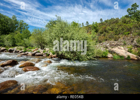Views of the Minchones Stream, in the region of La Vera, Caceres, Extremadura, Spain - Stock Photo