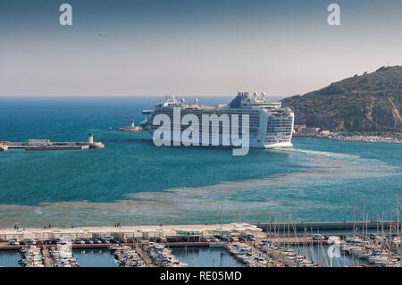 Cruise leaving the port of Cartagena, in the province of Murcia, Spain, on April 12, 2017 - Stock Photo