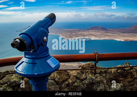 A view of La Graciosa island from Mirador del Rio in Lanzarote, Canary Islands - Stock Photo