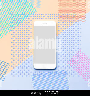Smartphone with memphis color art background.flat lay minimal style ideas - Stock Photo
