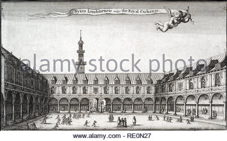 The Royal Exchange in London was founded in the 16th century by the merchant Thomas Gresham on the suggestion of his factor Richard Clough to act as a centre of commerce for the City of London. Etching by Bohemian etcher Wenceslaus Hollar from 1600s - Stock Photo