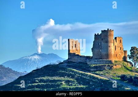Picturesque View of Mazzarino Medieval Castle with the Mount Etna in the Background, Caltanissetta, Sicily, Italy, Europe - Stock Photo