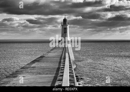 The Lighthouse at Les Sables-d'Olonne, France. - Stock Photo