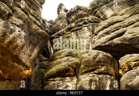 Huge Rockface of sandstone with bizarre formations - Stock Photo