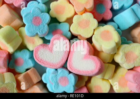 Two Pink and White Heart Shaped Marshmallows on the Heap of Pastel Flower Shaped Marshmallows - Stock Photo