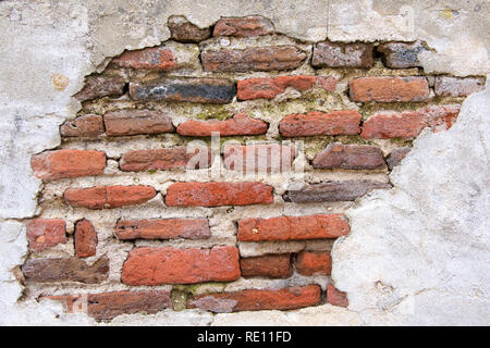 Old brick wall covered in concrete, weather worn concrete layer has crumbled away revealing underlying brick. Decrepit condition.