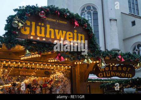 A decorated glühwein stall at the Christmas market in Neupfarrplatz, Regensburg, Bavaria - Stock Photo