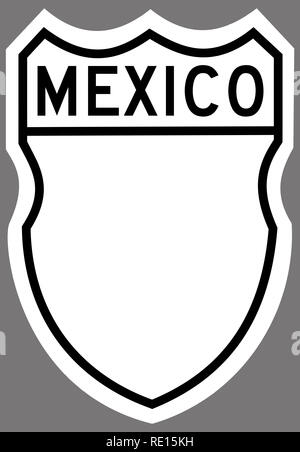 mexican federal highway sign plate blank illustration - Stock Photo