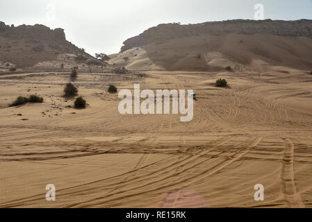 Pink Rock, Sharjah desert area, one of the most visited places for Off-roading, dune bashing and adventure by off roaders - Stock Photo