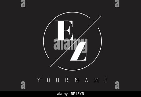 EZ Letter Logo with Cutted and Intersected Design and Round Frame Vector Illustration - Stock Photo