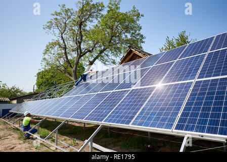 Photovoltaic Panels Under Construction On Hill S Slope