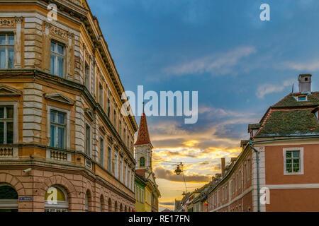 Architectural elements of a Transylvanian region during dawn in Sibiu, Romania. - Stock Photo