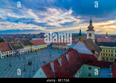 View to the Big Square in Sibiu, Transylvania region, Romania. - Stock Photo
