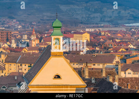 View to the Sibiu church rooftops in the center of the Sibiu, Romania. - Stock Photo
