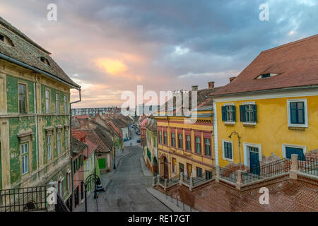 A view to the center part of the Sibiu, in the Transylvania region, Romania. - Stock Photo