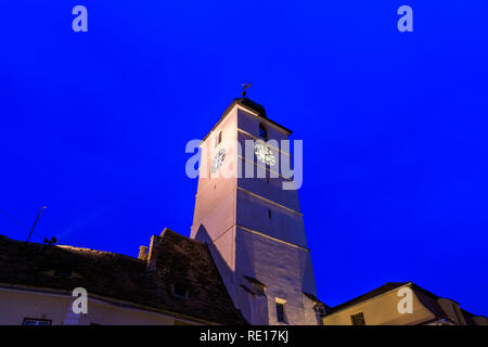 The Council tower in Sibiu at night in Transylvania region, Romania. - Stock Photo