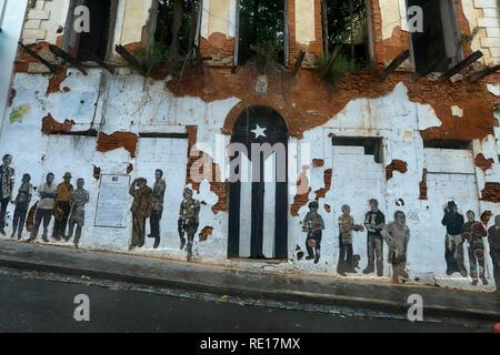 Door of a ruined house in San Juan, Puerto Rico - Stock Photo