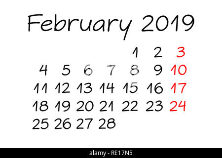 Handwritten monthly calendar February Year 2019 with marker on white background. - Stock Photo