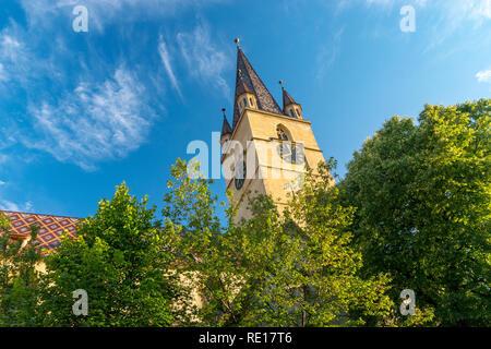 Lutheran Cathedral of Saint Mary in Sibiu, Transylvania region, Romania. - Stock Photo