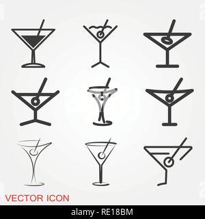 Martini icon logo, illustration, vector sign symbol for design - Stock Photo