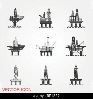 Oil platform iconfuel production logo, illustration, vector sign symbol for design - Stock Photo