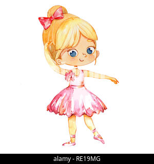 Blond Ballerina Princess Character Dancer Girl. Cute Child Girl wear pink Tutu Costume Training in School Class. Baby Ballet Poster Design Concept Watercolor Illustration. Isolated. - Stock Photo