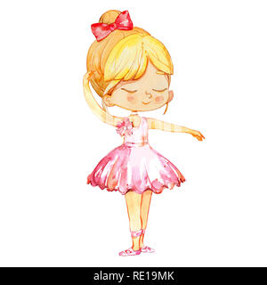 Cute Blond Ballerina Baby Girl Character Dancing. Elegant Little Child Posing Training Ballet Collection Poster Design for Print. Watercolor Cartoon Illustration. Isolated - Stock Photo