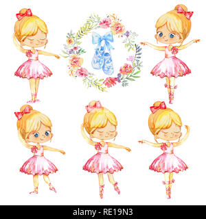 Set of Blond Ballerina Princess Character Dancer Girl. Cute Child Girls wearing pink Tutu Costume Training in School Class. Baby Ballet Shoes Poster Design Concept Watercolor Illustration. Isolated. - Stock Photo