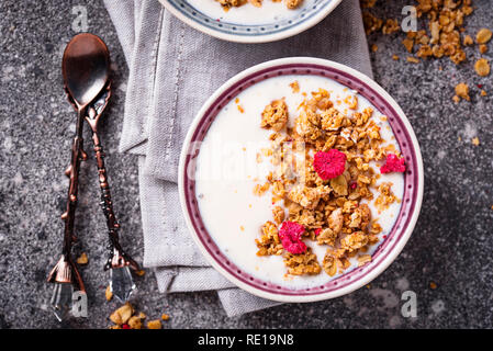 Granola with yogurt and dried raspberries - Stock Photo