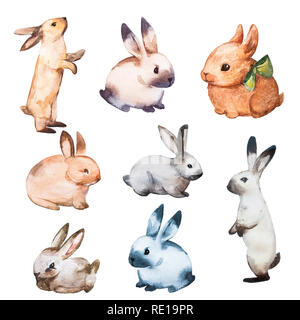 Rabbit Watercolor Set Flat Illustration. Isolated Colorful Cute Baby Bunny Collection. Pretty Little Hare Character Cartoon Style. Drawn Wildlife Fluffy Lapin Print Design - Stock Photo