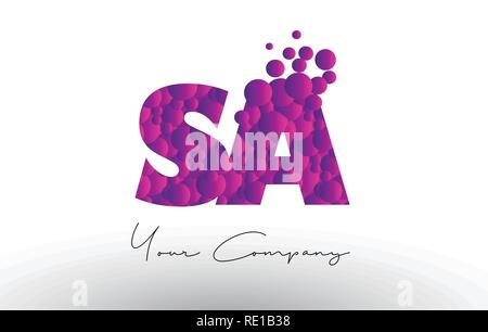 SA S A Dots Letter Logo with Purple Pink Magenta Bubbles Texture Vector. - Stock Photo