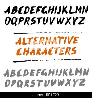 Brush Font Uppercase Letters Hand Written ABC with Alternatives - Stock Photo