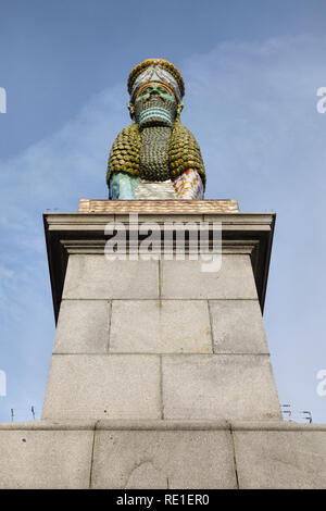 Trafalgar Square, London. The Invisible Enemy Should Not Exist, sculpture by Michael Rakowitz. It refers to an old Assyrian statue destroyed by ISIS - Stock Photo