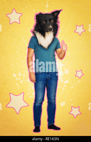 Contemporary art collage full length portrait positive dog headed man showing thumb up feedback like symbol. Modern style pop art zine culture concept - Stock Photo